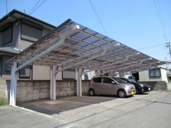 台風被害による貸駐車場 屋根修理(修繕リフォーム)工事 堺市美原 三基興産様