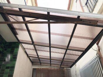 【火災保険適用工事】台風被害復旧工事 駐車場の波板復旧工事 堺市西区 M様